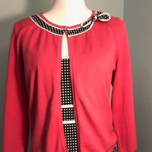 Jessica Howard Polka Dot Dress w/Silk Sweater, 10